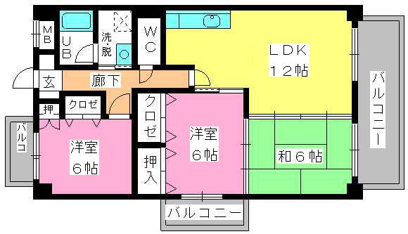 ミールム姪浜Ⅱ / 403号室間取り