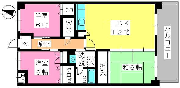ミールム姪浜Ⅱ / 502号室間取り