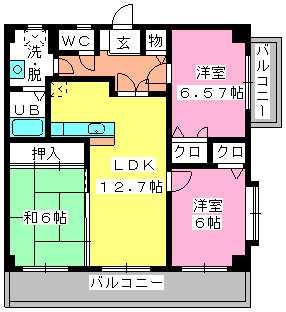 ロイヤルMⅡ / 501号室間取り