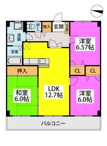 ロイヤルMⅡ / 505号室間取り