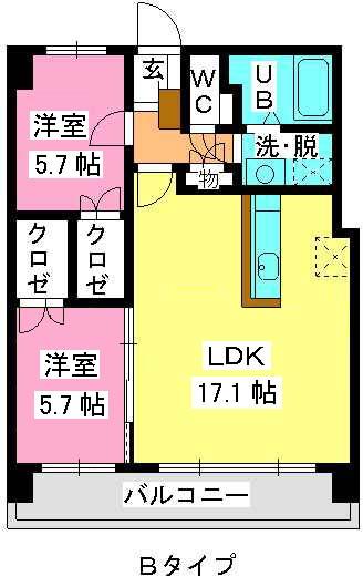MM-2 / 402号室間取り
