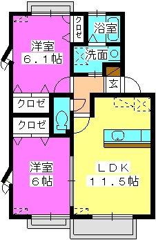 エトワール有田 / 203号室間取り