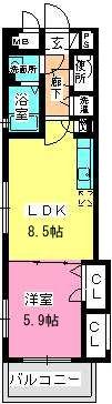 プレジオ荒江 / 305号室間取り