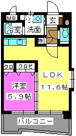 ボヌール福重 / 201号室間取り