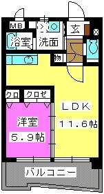 ボヌール福重 / 303号室間取り
