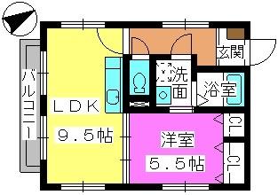 グリーンカーサ姪浜 / 202号室間取り