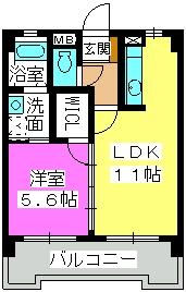 エクセル姪浜 / 402号室間取り
