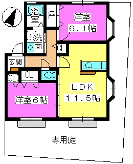 メロディハイツ飯倉 / B2102号室間取り