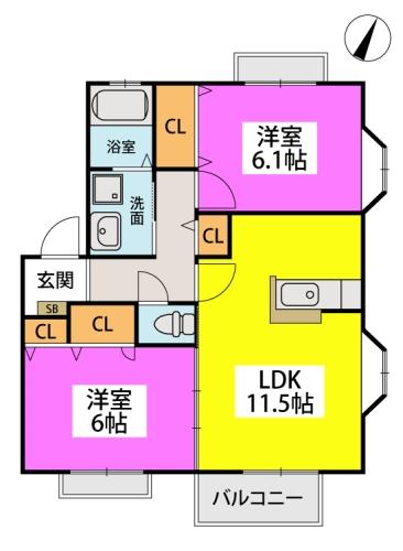 メロディハイツ飯倉 / B2202号室間取り