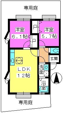 メロディハイツ飯倉 / E5101号室間取り