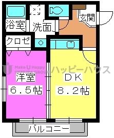 サニープレイスⅠ、Ⅱ / 2202号室間取り