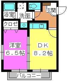 サニープレイスⅠ、Ⅱ / 2302号室間取り