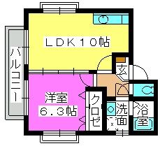 メロディハイツ / 201号室間取り