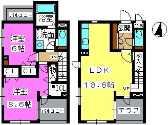 ドルフ姪浜 / 102号室間取り