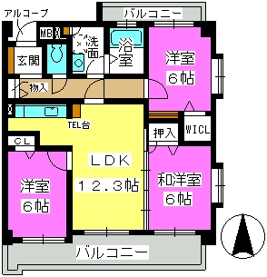 ルシオール藤崎 / 501号室間取り