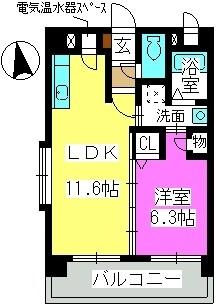 エクセル姪浜Ⅱ / 202号室間取り