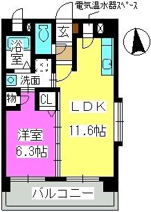 エクセル姪浜Ⅱ / 501号室間取り