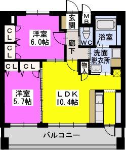 CASA愛宕南 / 602号室間取り
