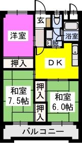 エルハイム室見Ⅰ / 402号室間取り