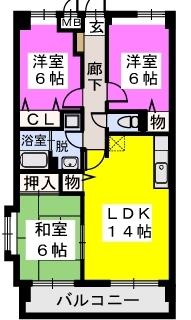 エルハイム室見Ⅱ / 301号室間取り