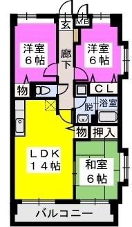 エルハイム室見Ⅱ / 303号室間取り