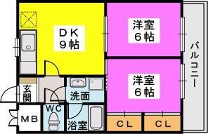 姪浜駅南ビル / 602号室間取り