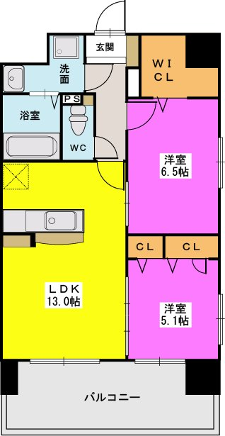 MM-6 / 303号室間取り
