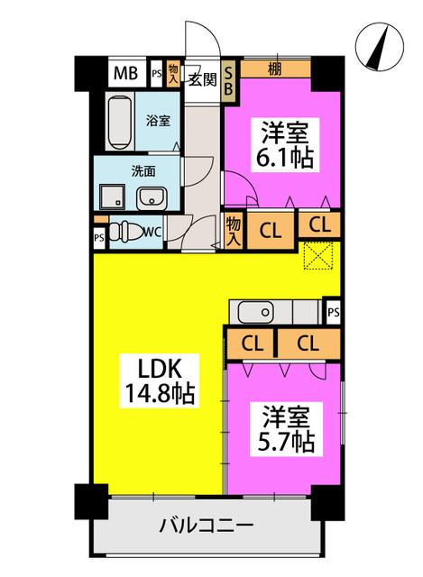 仮称)橋本2丁目濱地ビル / 401号室間取り