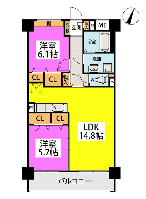 仮称)橋本2丁目濱地ビル / 402号室間取り