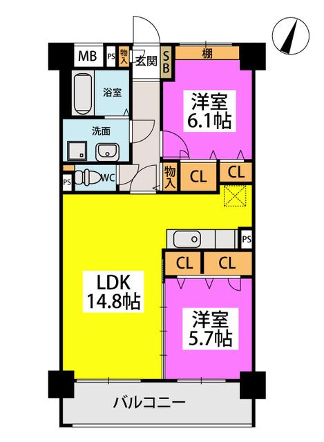 仮称)橋本2丁目濱地ビル / 503号室間取り