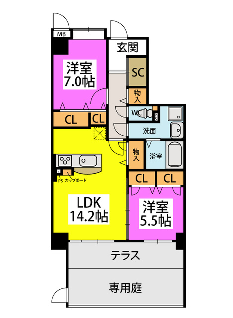 (仮称)姪浜Sマンション / 101号室間取り