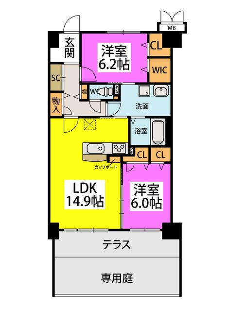 (仮称)姪浜Sマンション / 102号室間取り