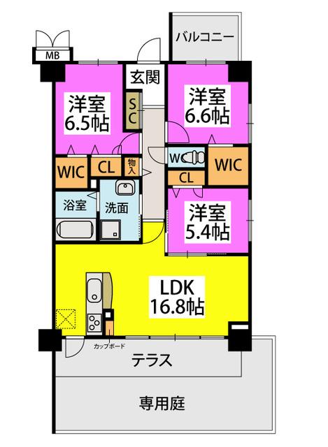 (仮称)姪浜Sマンション / 103号室間取り