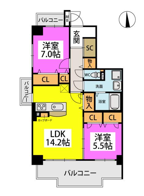 (仮称)姪浜Sマンション / 201号室間取り