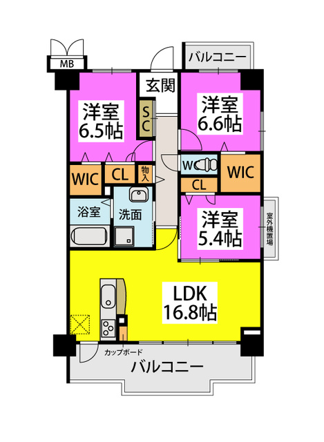 (仮称)姪浜Sマンション / 703号室間取り