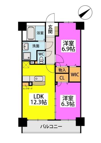Kobiraki bldg. / 402号室間取り