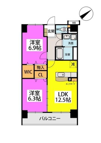 Kobiraki bldg. / 403号室間取り