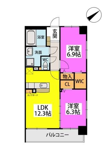 Kobiraki bldg. / 405号室間取り