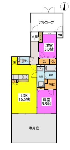 (仮称)小田部プレア7丁目 / 102号室間取り
