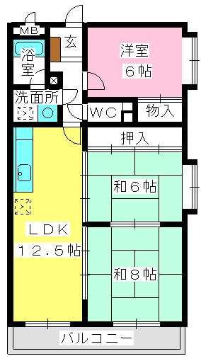 エクセレント中嶋 / 201号室間取り