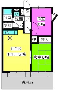 メロディハイツ山田 / 101号室間取り