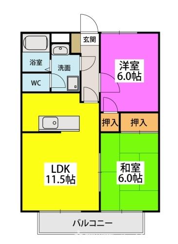 メロディハイツ山田 / 203号室間取り