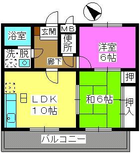 サンシャトーレ日永田 / 101号室間取り