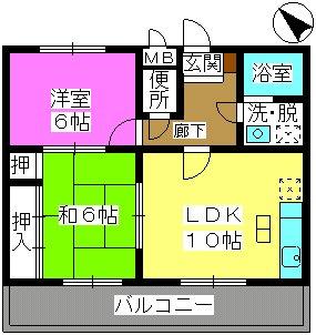 サンシャトーレ日永田 / 102号室間取り