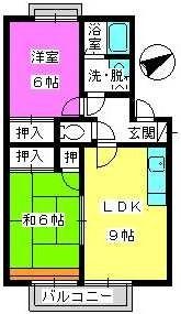 メロディハイツ乙金 / 202号室間取り