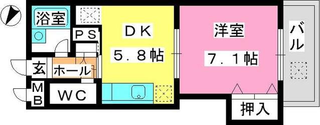 ジュネス東大利 / 402号室間取り