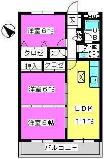 Cityハイツ山田 / 101号室間取り