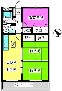 Cityハイツ山田 / 102号室間取り