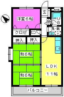 Cityハイツ山田 / 201号室間取り