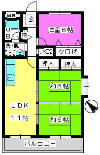 Cityハイツ山田 / 205号室間取り
